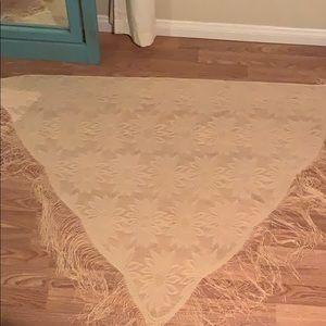 Beautiful sunflower lace shawl with fringe